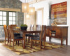 Clayton Warm Brown 7 Piece Dining Table Set in room