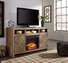 Ferndale TV Stand with Fireplace Insert Driftwood in room