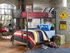 Battery Park Black Steel Twin over Twin Metal Bunk Beds Room