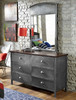 Battery Park Black Steel Tall Metal Mirror shown with Optional 6 Drawer Dresser Room