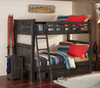 Nielsen Distressed Espresso Bunk Beds full over full size with storage drawers in room