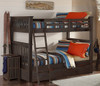 Nielsen Distressed Espresso Bunk Beds full over full size with trundle in room