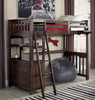 Nielsen Distressed Espresso Loft Bed with Storage twin in room