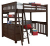 Nielsen Distressed Espresso Loft Bed with Storage full size