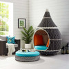 Aladdin Hanging Outdoor Patio Wicker Pod Brown and Turquoise on Legs with Ottoman Base Room 2