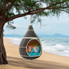 Aladdin Hanging Outdoor Patio Wicker Pod Brown and Turquoise Hanging from Tree
