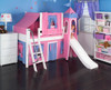 My Sweet Princess White Twin Girls Castle Bed with Slide Room