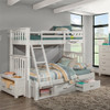 Iris Brushed White Bunk Beds twin over full with storage drawers in room