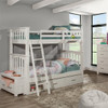 Iris Brushed White Bunk Beds twin over twin with storage drawers in room
