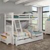 Iris Brushed White Bunk Beds twin over full with trundle in room