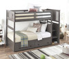 Barr Gray Twin Bunk Bed with Stairs shown with Optional Set of 2 Underbed Storage Drawers