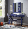 Shipping Container Blue Metal Vanity Mirror shown with Optional Blue Metal Vanity Desk