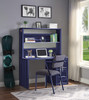 Shipping Container Blue Metal Desk Chair  shown with Optional Blue Metal Desk