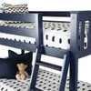 Brody Blue Low Bunk Beds for Kids Ladder Detail