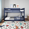 Brody Blue Low Bunk Beds for Kids shown with 1 Optional Bottom Bunk Safety Rail