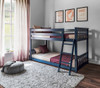 Brody Blue Low Bunk Beds for Kids Angled View Room