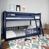 Brody Blue Low Bunk Beds for Kids shown with 3 Optional Bottom Bunk Safety Rails
