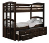 Caden Espresso Twin over Twin Bunk Bed with Trundle