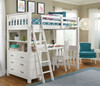 Iris Brushed White Loft Bed with Desk twin in room