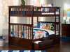 Fernando Walnut Bunk Beds full over full with storage drawers