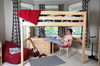 Becks Natural High Queen Loft Bed shown with Chest & Kid Under Bed Room