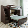 Silas Espresso Twin over Full L Shaped Bunk Beds with Storage Stairs on Left Room