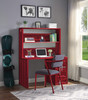 Shipping Container Red Metal Desk Chair lifestyle with desk and hutch
