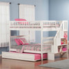 Natalie Marie White Full Size Kids Bunk Beds with Stairs shown with Optional Twin Trundle