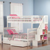 Natalie Marie White Twin over Full Kids Bunk Beds with Stairs shown with Optional Set of 2 Under Bed Storage Drawers