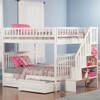 Natalie Marie White Full Size Kids Bunk Beds with Stairs shown with Optional Set of 2 Under Bed Storage Drawers