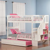 Natalie Marie White Twin Size Kids Bunk Beds with Stairs shown with Optional Twin Trundle