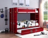 Shipping Container Twin Red Metal Bunk Beds Room