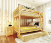 Delaney Natural Bunk Beds full over full with storage trundle with mattress in