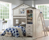 Fort Trudy Whitewash Twin Playhouse Loft Bed Room shown with Optional Bookcase Cabinet