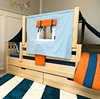 Devon's Natural Twin Size Toddler Daybed-Panel Ends with Blue/Orange Top Tent shown with Optional Storage Drawers