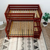 Theo Chestnut Twin over Queen Bunk Bed No Mattresses Top View Room