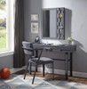 Shipping Container Gray Metal Vanity Mirror shown with Optional Gray Metal Vanity Desk