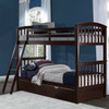 Dolan Arch Chocolate Twin over Twin Bunk Beds shown with Optional Twin Trundle