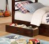 Seymore Dark Walnut Bunk Beds with Storage twin size drawer detail