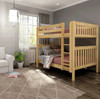 Bennett Natural Full XL Bunk Beds Angled View Room