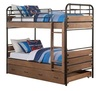 Ryder Antique Oak Twin Bunk Bed with Trundle