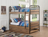 Ryder Antique Oak Twin Bunk Bed with Trundle Room