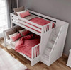 Menora White Twin over Queen Bunk Bed with Stairs Top View Room