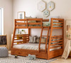 Gaines Oak Twin over Full Bunk Bed with Storage lifestyle