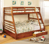Gaines Oak Twin over Full Bunk Bed with Storage lifestyle with open drawer