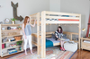 Crystal White Loft Bed with Daybed Girls in Room (shown in Natural finish)