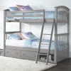 Barrett Arch Gray Twin over Twin Bunk Beds shown with Optional Set of 2 Underbed Storage Drawers