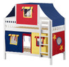 Whistle Stop White Low Twin Size Kids Playhouse Bunk Bed-Slatted Ends