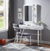 Shipping Container White Metal Vanity Desk Front View shown with Optional White Metal Vanity Mirror and Desk Chair