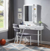 Shipping Container White Metal Vanity Mirror shown with Optional White Metal Vanity Desk and Desk Chair